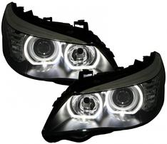 BMW E60 03-07 Фары с светодиодными ангельскими глазками черные