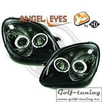 Mercedes R170 96-04 Фары с линзами и ангельскими глазками черные