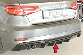 Audi A3 8V 3/5Дв Хэтчбек 16- Накладка на задний бампер/диффузор глянцевая