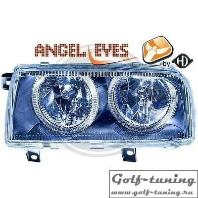 VW Vento Фары с ангельскими глазками черные