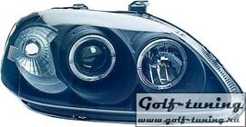 Honda Civic 95-99 Фары с линзами и ангельскими глазками черные
