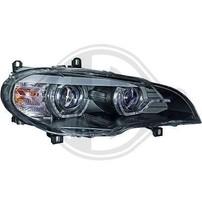 BMW X5 07-10 Фары с 3D ангельскими глазками черные под AFS ксенон