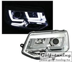 VW T5 09-15 Фары 3D Light bar хром