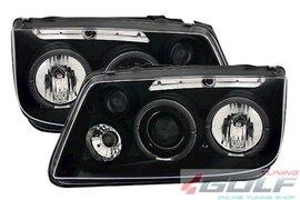 VW Bora Фары angel eyes черные
