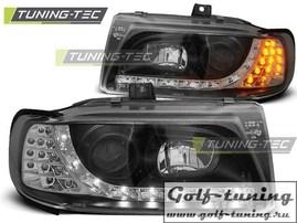 Seat Ibiza 6K, Cordoba, Polo 93-99 Фары Devil eyes, Dayline с светодиодным поворотником черные