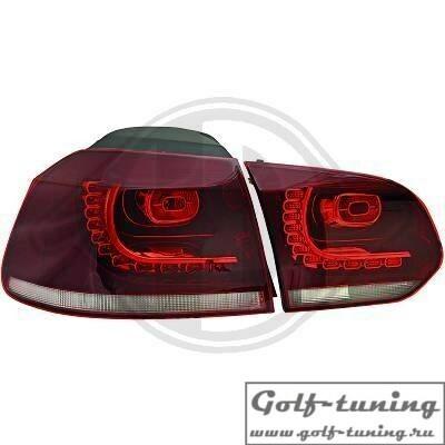 VW Golf 6 Фонари светодиодные, красно-тонированные R20 Look