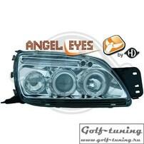 Ford Fiesta 99-02 Фары с линзами и ангельскими глазками хром