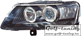 Audi A6 4F 04-08 Фары с ангельскими глазками и линзами черные