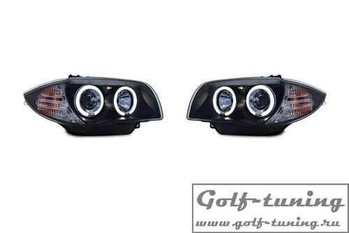 BMW E81/E82/E87/E88 04-11 Фары с led ангельскими глазками и линзами черные