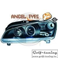 Peugeot 106 96- Фары с линзами и ангельскими глазками черные