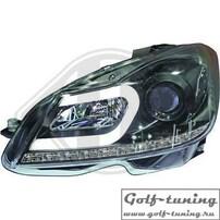Mercedes W204 11-14 Фары Devil eyes, Dayline черные Lightbar