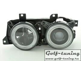 BMW E34 Фары с линзами и ангельскими глазками черные