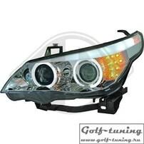 BMW E60 03-07 Фары с линзами и CCFL ангельскими глазками хром F10 Look