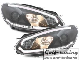 VW Golf 6 Фары Devil eyes, Dayline черные Light Tube design Dectane SWV32SLGXB
