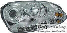 VW Golf 5 Фары Dayline с линзами и ангельскими глазками хром