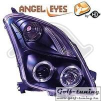 Suzuki Swift 05-10 Фары с линзами и ангельскими глазками черные