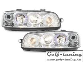 Fiat Punto 188 99-03 Фары с ангельскими глазками и линзами хром