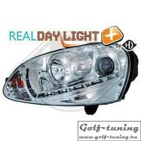 VW Golf 5 Фары Devil eyes, Dayline хром под ксенон