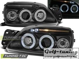 Ford Fiesta 99-02 Фары Angel eyes черные
