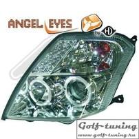 Citroen C2 03-10 Фары с линзами и ангельскими глазками хром