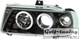 Seat Ibiza 95-99 Фары с линзами и ангельскими глазками черные