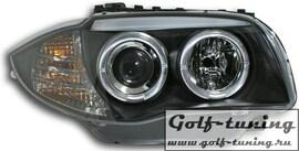 BMW E81/82/87/88 04-11 Фары с линзами и ангельскими глазками черные