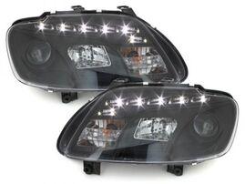 VW Touran 1T 03-06/Caddy 03-10 Фары Devil eyes, Dayline черные