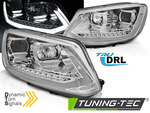 VW TOURAN II 10-15 Фары с бегающим поворотником tube light хром