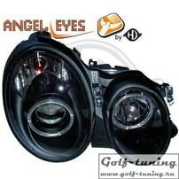 Mercedes W210 95-99 Фары с ангельскими глазками и линзами черные
