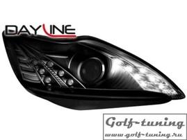 Ford Focus 08-11 Фары Devil eyes, Dayline черные с светодиодным поворотником