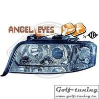 Audi A6 4B 01-04 Фары с ангельскими глазками и линзами хром под ксенон