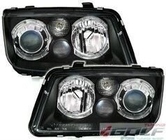 VW Bora Фары с ангельскими глазками черные