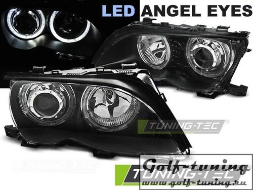 BMW E46 01-05 Седан/Универсал Фары с Led ангельскими глазками черные