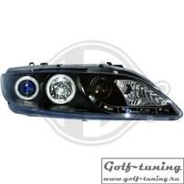 Mazda 6 02-08 Фары Devil eyes, Dayline с ангельскими глазками и линзами черные