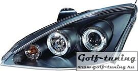 Ford Focus 01-04 Фары с линзами и ангельскими глазками черные