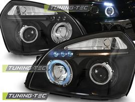 Hyundai Tucson 04-10 Фары Angel eyes черные