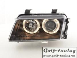 Audi A4 B5 95-99 Фары с ангельскими глазками и линзами черные под ксенон