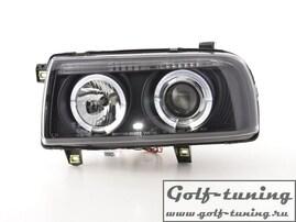 VW Vento Фары с линзами и ангельскими глазками черные