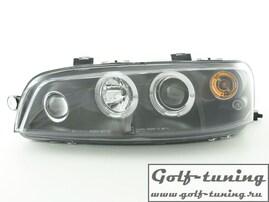 Fiat Punto 188 99-03 Фары с ангельскими глазками и линзами черные