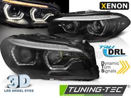 BMW F10/F11 10-13 Фары led angel eyes под ксенон с бегающим поворотником черные