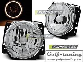 VW Golf 2 Фары наружные Angel eyes хром