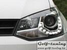 VW Polo Sedan 09-20 Фары Devil eyes, Dayline черные GTI Look