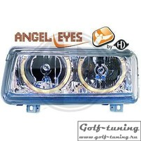 VW Passat B4 Фары с ангельскими глазками хром