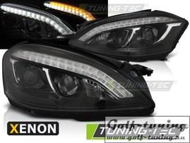 Mercedes W221 05-09 Фары daylight design черные в стиле W222 под ксенон