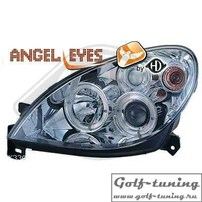 Citroen Xsara 99-04 Фары с ангельскими глазками и линзами хром