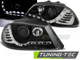 Seat Ibiza 6L 02-08 Фары Devil eyes, Dayline черные с светодиодным поворотником
