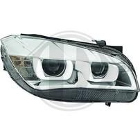 BMW X1 E84 11-14 Фары хром с линзами и 3D ангельскими глазками под ксенон