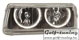 VW Passat B4 Фары с ангельскими глазками черные