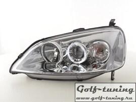 Honda Civic 01-03 Фары с ангельскими глазками и линзами хром