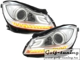 Mercedes W204 11- Фары Devil eyes, Dayline хром Lightbar Dectane SWMB22ADGX